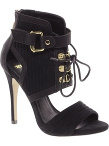 Top Secret Sandal Shoe Boots - predominant colour: black; occasions: casual, evening; material: suede; heel height: high; embellishment: buckles; heel: stiletto; toe: open toe/peeptoe; boot length: ankle boot; style: standard; finish: plain; pattern: plain