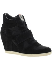 Bowie Black Wedge Trainers - predominant colour: black; occasions: casual; material: suede; heel height: mid; heel: wedge; toe: round toe; boot length: ankle boot; style: high top; trends: sporty redux; finish: plain; pattern: plain