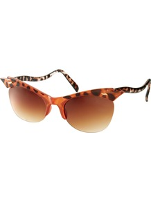 Cat Eye Sunglasses With Cut Away Detail - secondary colour: chocolate brown; predominant colour: tan; occasions: casual, holiday; style: cateye; size: standard; material: plastic/rubber; pattern: tortoiseshell; finish: plain