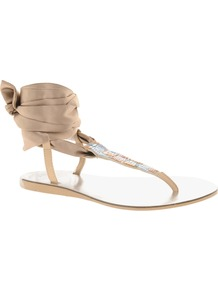 Foxy Flat Sandals With Ribbon Tie - predominant colour: champagne; occasions: casual, evening, holiday; material: leather; heel height: flat; embellishment: sequins; ankle detail: ankle tie; heel: standard; toe: toe thongs; style: flip flops / toe post; finish: plain; pattern: plain
