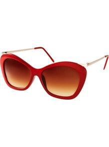 Chunky Cat Eye Sunglasses With Metal Arm - predominant colour: true red; secondary colour: gold; occasions: casual, holiday; style: cateye; size: large; material: plastic/rubber; pattern: plain; finish: plain
