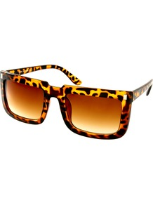 Square Retro Sunglasses - secondary colour: mustard; predominant colour: chocolate brown; occasions: casual, holiday; style: square; size: standard; material: plastic/rubber; pattern: tortoiseshell; finish: plain