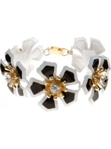 Monochrome Flower Diamante Bracelet - predominant colour: white; secondary colour: black; occasions: evening, work, occasion, holiday; style: chain; size: standard; material: chain/metal; trends: metallics; finish: metallic; embellishment: crystals