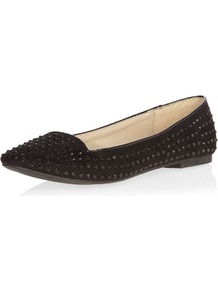 Black Studded Slipper - predominant colour: black; secondary colour: black; occasions: casual, evening, work, holiday; material: faux leather; heel height: flat; embellishment: studs; toe: pointed toe; style: ballerinas / pumps; finish: plain; pattern: plain