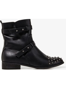 Spiked Toe Booties - secondary colour: silver; predominant colour: black; occasions: casual, work; material: faux leather; heel height: flat; embellishment: studs; heel: standard; toe: round toe; boot length: ankle boot; style: biker boot; finish: plain; pattern: plain