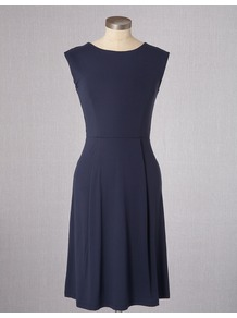 Ledbury Dress - style: shift; neckline: round neck; sleeve style: capped; fit: fitted at waist; pattern: plain; predominant colour: navy; occasions: casual, work, occasion; length: just above the knee; fibres: viscose/rayon - stretch; sleeve length: sleeveless; pattern type: fabric; texture group: jersey - stretchy/drapey