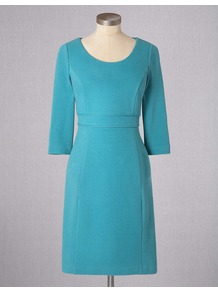 Textured Ponte Dress - style: shift; fit: tailored/fitted; pattern: plain; predominant colour: turquoise; occasions: work, occasion; length: just above the knee; neckline: scoop; fibres: cotton - stretch; waist detail: narrow waistband; sleeve length: 3/4 length; sleeve style: standard; texture group: cotton feel fabrics; pattern type: fabric