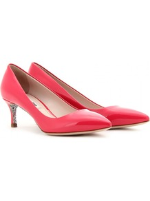Glitter Sole Kitten Heel Pumps - predominant colour: coral; occasions: evening, work, occasion, holiday; material: leather; heel height: mid; embellishment: glitter; heel: kitten; toe: pointed toe; style: courts; trends: fluorescent; finish: patent; pattern: plain
