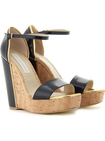 Cork Wedges - predominant colour: navy; secondary colour: gold; occasions: casual, evening, work, holiday; material: leather; ankle detail: ankle strap; heel: wedge; toe: open toe/peeptoe; style: standard; finish: patent; pattern: plain; heel height: very high