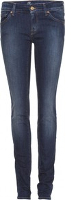 Olivya Skinny Jeans - style: skinny leg; length: standard; pattern: plain; pocket detail: traditional 5 pocket; waist: mid/regular rise; predominant colour: navy; occasions: casual, evening; fibres: cotton - stretch; jeans detail: shading down centre of thigh, dark wash; texture group: denim; pattern type: fabric