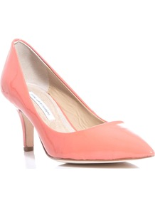 Anette Shoes - predominant colour: pink; occasions: evening, work, occasion; material: leather; heel height: mid; heel: stiletto; toe: pointed toe; style: courts; finish: patent; pattern: plain