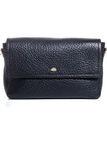 Eliza Shoulder Bag - predominant colour: black; occasions: casual, evening; style: shoulder; length: shoulder (tucks under arm); size: small; material: leather; embellishment: studs; pattern: plain; finish: plain