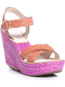 Origenes Sandals - predominant colour: magenta; secondary colour: coral; occasions: casual, evening, holiday; material: leather; heel height: high; ankle detail: ankle strap; heel: wedge; toe: open toe/peeptoe; style: standard; finish: plain; pattern: colourblock