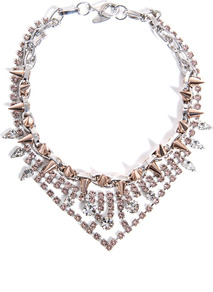 Crystal And Spike Necklace - occasions: casual, evening, occasion, holiday; predominant colour: multicoloured; style: choker/collar; length: short; size: standard; material: chain/metal; finish: metallic; embellishment: crystals