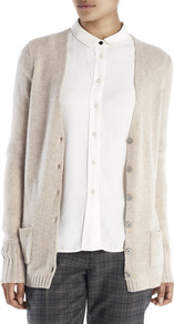 Cashmere Boyfriend Cardigan - neckline: low v-neck; pattern: plain; length: below the bottom; predominant colour: stone; occasions: casual; style: standard; fit: standard fit; fibres: cashmere - 100%; sleeve length: long sleeve; sleeve style: standard; texture group: knits/crochet; pattern type: knitted - other