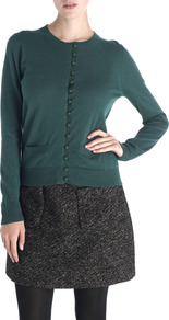 Grosgrain Button Cardigan - neckline: round neck; pattern: plain; predominant colour: teal; occasions: casual, work; length: standard; style: standard; fibres: wool - mix; fit: standard fit; sleeve length: long sleeve; sleeve style: standard; texture group: knits/crochet; pattern type: knitted - fine stitch