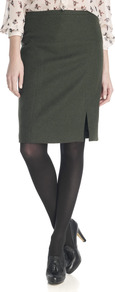 Moss Tweed Stitch Seam Skirt - pattern: plain; style: pencil; fit: tailored/fitted; waist: high rise; predominant colour: sage; occasions: casual, work; length: on the knee; fibres: wool - 100%; pattern type: fabric; texture group: tweed - light/midweight