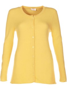 Cashmere Cardigan - neckline: round neck; pattern: plain; length: below the bottom; predominant colour: primrose yellow; occasions: casual; style: standard; fit: slim fit; fibres: cashmere - 100%; sleeve length: long sleeve; sleeve style: standard; texture group: knits/crochet; pattern type: knitted - fine stitch