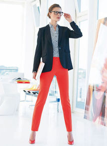 Trousers - pattern: plain; waist: mid/regular rise; predominant colour: true red; occasions: casual, evening, work, holiday; length: ankle length; fibres: polyester/polyamide - stretch; texture group: cotton feel fabrics; fit: slim leg; pattern type: fabric; style: standard