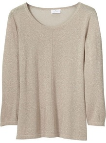 Sweater - neckline: round neck; pattern: plain; style: standard; predominant colour: champagne; occasions: casual, work; length: standard; fit: standard fit; sleeve length: 3/4 length; sleeve style: standard; texture group: knits/crochet; pattern type: knitted - other; fibres: viscose/rayon - mix
