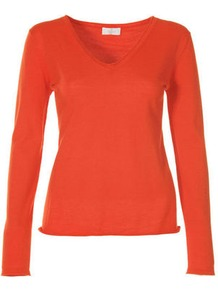 Summer Sweater - neckline: v-neck; pattern: plain; style: standard; predominant colour: bright orange; occasions: casual, work; length: standard; fibres: wool - mix; fit: slim fit; sleeve length: long sleeve; sleeve style: standard; texture group: knits/crochet; pattern type: knitted - fine stitch