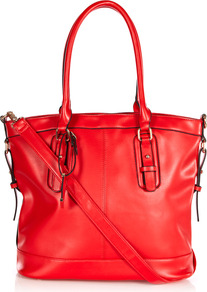 Piping Detail Shoulder Bag - predominant colour: true red; occasions: casual, work, holiday; type of pattern: light; style: tote; length: handle; size: standard; material: faux leather; pattern: plain; finish: plain; embellishment: buckles