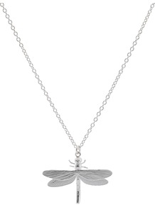 Dragonfly Necklace, Silver - predominant colour: silver; occasions: casual, evening, work, holiday; style: pendant; length: mid; size: small/fine; material: chain/metal; finish: metallic