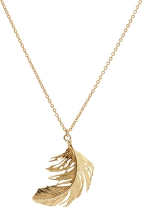 Big Single Feather Necklace, Gold - predominant colour: gold; occasions: casual, evening, work, occasion, holiday; style: pendant; length: mid; size: small/fine; material: chain/metal; finish: metallic
