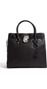 Large Black Hamilton North South Tote - predominant colour: black; occasions: casual, evening, work; type of pattern: standard; style: tote; length: handle; size: standard; material: leather; pattern: plain; finish: plain; embellishment: chain/metal