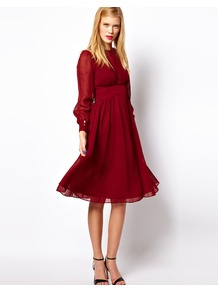 Midi Dress With Gathered Front - style: empire line; length: below the knee; neckline: round neck; sleeve style: puffed; fit: empire; pattern: plain; waist detail: fitted waist, twist front waist detail/nipped in at waist on one side/soft pleats/draping/ruching/gathering waist detail; bust detail: ruching/gathering/draping/layers/pintuck pleats at bust; predominant colour: true red; occasions: casual, evening, occasion; fibres: polyester/polyamide - 100%; hip detail: soft pleats at hip/draping at hip/flared at hip; shoulder detail: flat/draping pleats/ruching/gathering at shoulder; sleeve length: long sleeve; texture group: sheer fabrics/chiffon/organza etc.; trends: volume; pattern type: fabric