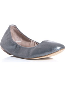 Metallic Leather Flats - predominant colour: silver; occasions: casual, work; material: leather; heel height: flat; embellishment: elasticated; toe: round toe; style: ballerinas / pumps; trends: metallics; finish: metallic; pattern: plain