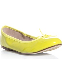 Patent Leather Flats - predominant colour: yellow; occasions: casual, holiday; material: leather; heel height: flat; toe: round toe; style: ballerinas / pumps; trends: fluorescent; finish: patent; pattern: plain; embellishment: bow