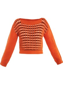 Zante Sweater - neckline: slash/boat neckline; length: cropped; style: standard; shoulder detail: contrast pattern/fabric at shoulder; predominant colour: bright orange; secondary colour: black; occasions: casual, work, holiday; fibres: cotton - mix; fit: slim fit; bust detail: contrast pattern/fabric/detail at bust; sleeve length: long sleeve; sleeve style: standard; texture group: knits/crochet; trends: modern geometrics; pattern type: knitted - other; pattern size: small & busy; pattern: patterned/print