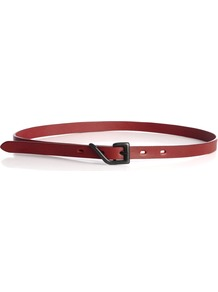 Skinny Open Buckle Belt - predominant colour: true red; occasions: casual, work; style: classic; size: skinny; worn on: waist; material: leather; pattern: plain; finish: plain