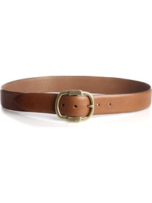 Classic Leather Jeans Belt - predominant colour: tan; occasions: casual, work; style: classic; size: standard; worn on: hips; material: leather; pattern: plain; finish: plain