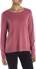 Cashmere Sweatshirt - neckline: round neck; pattern: plain; length: below the bottom; style: sweat top; occasions: casual; fit: loose; fibres: cashmere - 100%; sleeve length: long sleeve; sleeve style: standard; pattern type: fabric; texture group: jersey - stretchy/drapey; predominant colour: dusky pink