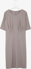 Gathered Seam Dress - style: shift; pattern: plain; bust detail: ruching/gathering/draping/layers/pintuck pleats at bust; predominant colour: taupe; occasions: casual; length: on the knee; fit: body skimming; fibres: polyester/polyamide - stretch; neckline: crew; sleeve length: short sleeve; sleeve style: standard; texture group: crepes; pattern type: fabric; season: a/w 2012