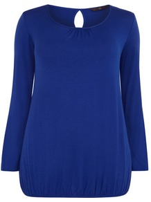 Cobalt Blue Blouson Hem Top - neckline: round neck; pattern: plain; style: blouson; predominant colour: royal blue; occasions: casual, work; length: standard; fibres: polyester/polyamide - stretch; fit: straight cut; back detail: keyhole/peephole detail at back; sleeve length: long sleeve; sleeve style: standard; pattern type: fabric; texture group: jersey - stretchy/drapey