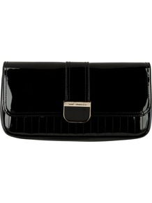 Benet Quilted Clutch Handbag, Black - predominant colour: black; occasions: evening, occasion; type of pattern: standard; style: clutch; length: hand carry; size: small; material: leather; pattern: plain; finish: patent