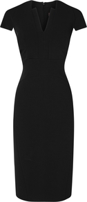 Elodie Structured Dress, Black - style: shift; neckline: v-neck; sleeve style: capped; fit: tailored/fitted; pattern: plain; waist detail: fitted waist; predominant colour: black; occasions: evening, work; length: on the knee; fibres: nylon - mix; sleeve length: short sleeve; trends: glamorous day shifts; pattern type: fabric; pattern size: standard; texture group: other - light to midweight