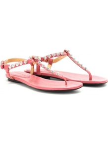 Giant Studded Leather Sandals - predominant colour: pink; occasions: casual, evening, holiday; material: leather; heel height: flat; embellishment: studs; ankle detail: ankle strap; heel: standard; toe: toe thongs; style: flip flops / toe post; finish: plain; pattern: plain