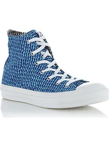 All Star Hi Tops - secondary colour: royal blue; predominant colour: turquoise; occasions: casual; material: faux leather; heel height: flat; toe: round toe; style: trainers; finish: plain; pattern: patterned/print