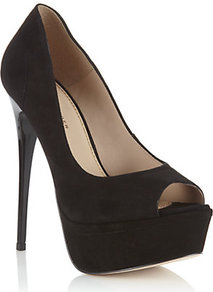Emerald Peep Toe Platform - predominant colour: black; occasions: evening, occasion, holiday; material: suede; heel: platform; toe: open toe/peeptoe; style: courts; finish: plain; pattern: plain; heel height: very high