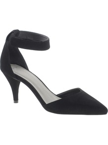 Sonic Pointed Heels - predominant colour: black; occasions: evening, work, occasion; material: faux leather; heel height: mid; ankle detail: ankle strap; heel: cone; toe: pointed toe; style: courts; finish: plain; pattern: plain