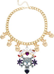 Celebration Skull Statement Necklace - secondary colour: purple; predominant colour: gold; occasions: evening, occasion, holiday; style: pendant; length: short; size: large/oversized; material: chain/metal; trends: metallics; finish: metallic; embellishment: jewels