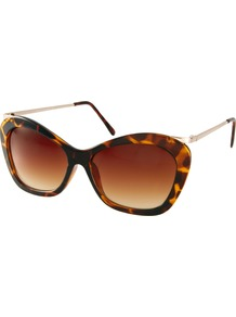 Chunky Cat Eye Sunglasses With Metal Arms - secondary colour: chocolate brown; predominant colour: tan; occasions: casual, holiday; style: cateye; size: large; material: plastic/rubber; pattern: animal print; finish: plain