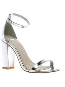 Hometown Heeled Sandals - predominant colour: silver; occasions: evening, occasion, holiday; material: faux leather; heel height: high; ankle detail: ankle strap; heel: block; toe: open toe/peeptoe; style: strappy; trends: metallics; finish: metallic; pattern: plain