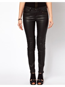 Premium Coated Skinny Biker Jeans With Ruched Panel Detail - style: skinny leg; length: standard; pattern: plain; pocket detail: traditional 5 pocket; waist: mid/regular rise; predominant colour: black; occasions: casual, evening; fibres: cotton - stretch; jeans detail: dark wash; texture group: denim; pattern type: fabric