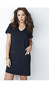 Ponte Stud Tunic Dress - style: tunic; neckline: v-neck; pattern: plain; hip detail: front pockets at hip; predominant colour: navy; occasions: casual, evening, work, holiday; length: just above the knee; fit: straight cut; fibres: polyester/polyamide - stretch; sleeve length: short sleeve; sleeve style: standard; trends: glamorous day shifts; pattern type: fabric; pattern size: standard; texture group: other - light to midweight; embellishment: studs