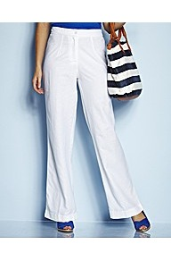 Wide Leg Linen Mix Trousers Length 30in - length: standard; pattern: plain; waist detail: elasticated waist; waist: mid/regular rise; predominant colour: white; occasions: casual, holiday; texture group: linen; fit: wide leg; pattern type: fabric; style: standard; fibres: viscose/rayon - mix